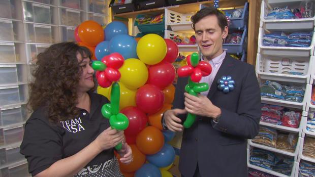 Balloon artist Connie Iden-Monds with Conor Knighton