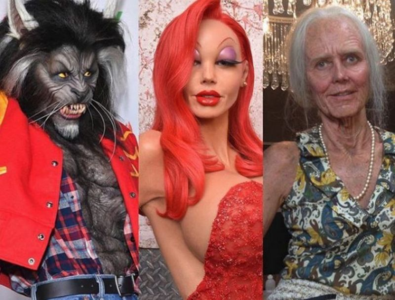 Prosthetic Renaissance Inc. has already made Heidi Klum's Jessica Rabbit costume for Halloween 2015 and elderly woman costume for Halloween 2013.