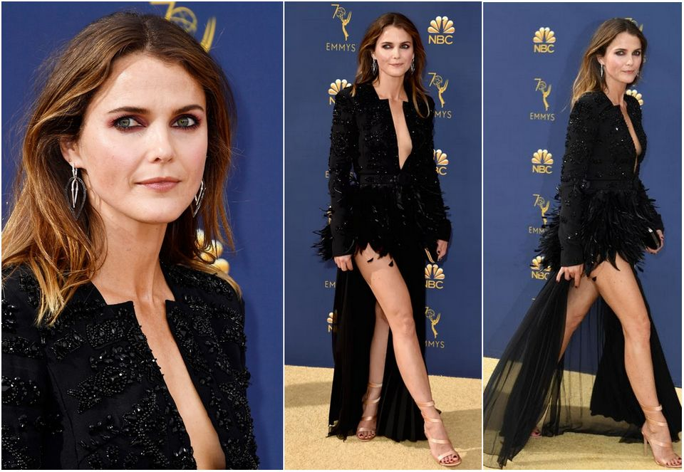 Keri Russell arrived at the red carpet of star-studded Emmy Awards 2018 in a beautiful black dress from Zuhair Murad Spring 2018 Couture Collection.
