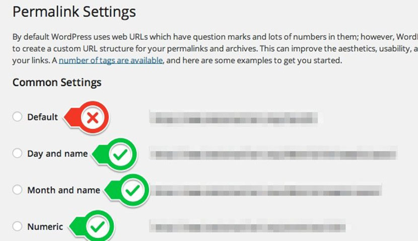 optimize permalinks setting in wordpress