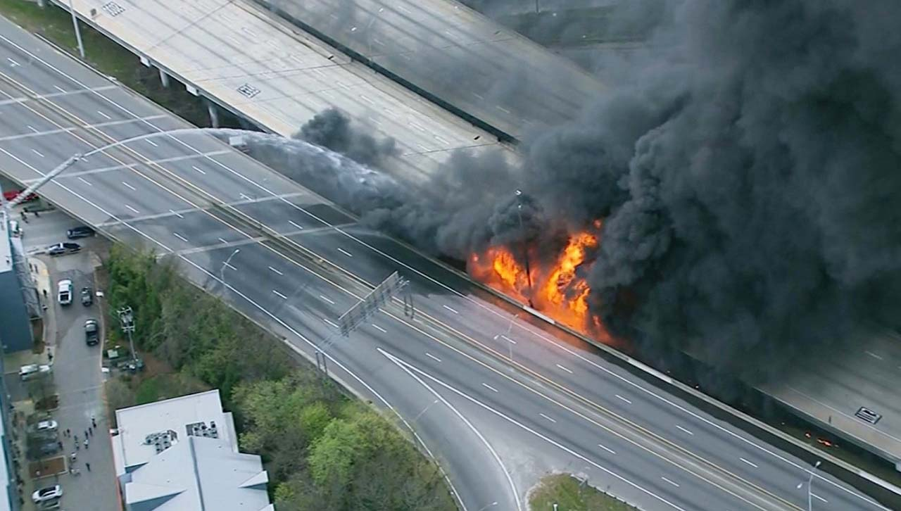 Cement Bridge Burns Above i85 in Atlanta, Raging Fire