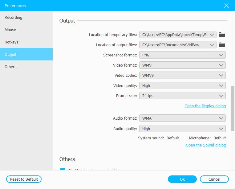 Audio Output Settings