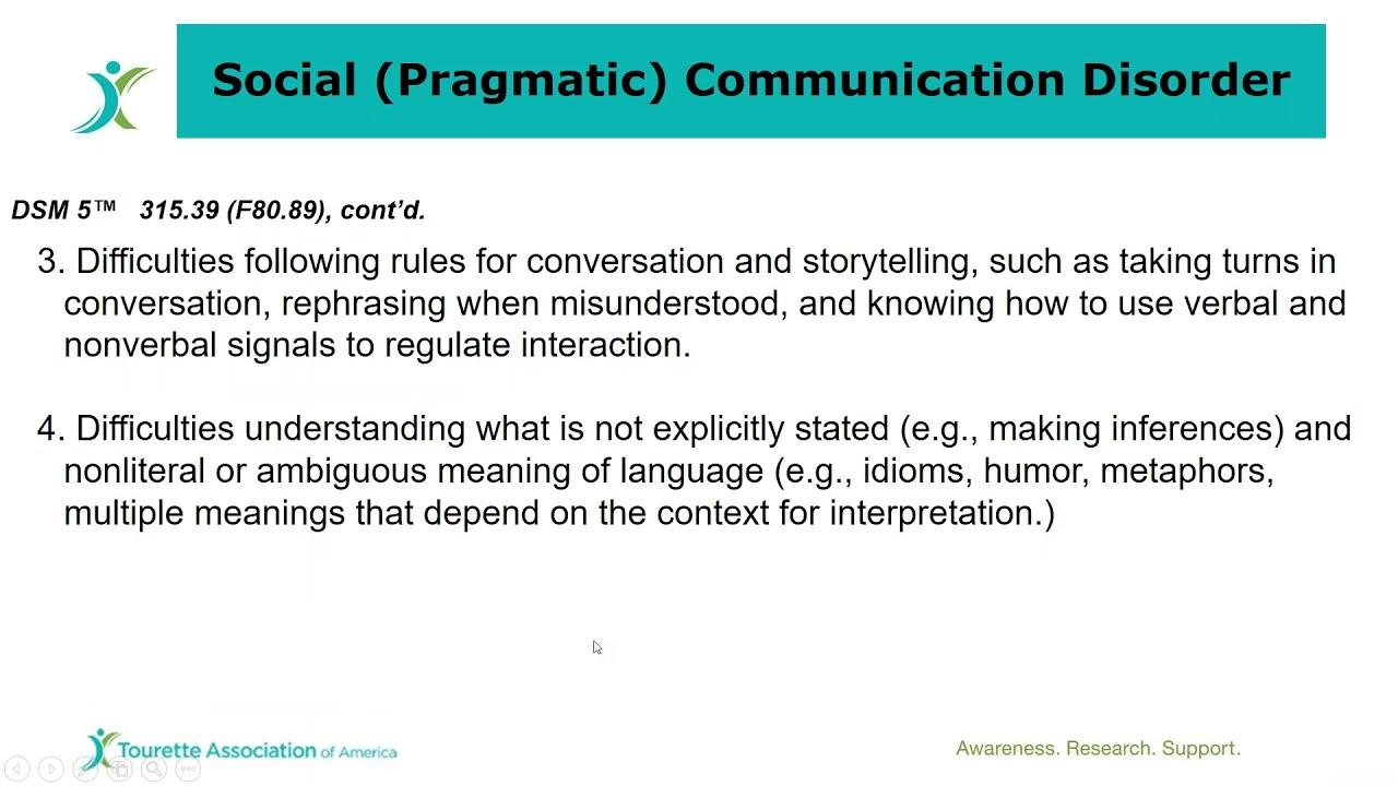 social pragmatic communication disorder