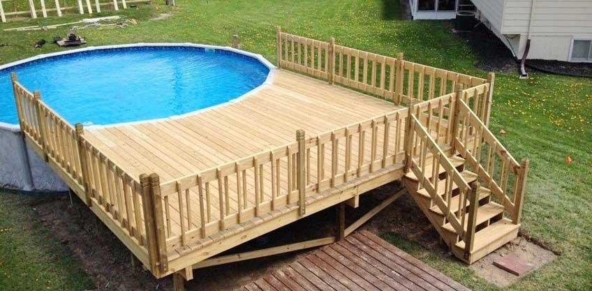 Above ground pool with deck packages
